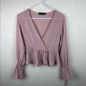 Tops - Pretty Little Thing Cropped, Pink, Ruffle Blouse